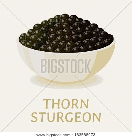 Appetizing black thorn sturgeon caviar in a white bowl.