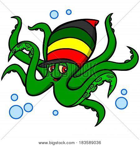 A vector illustration of a Rasta Octopus.