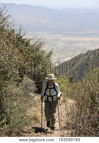 A Hiker on the Miller Canyon Trail in the Huachuca Mountains near Sierra Vista Arizona.