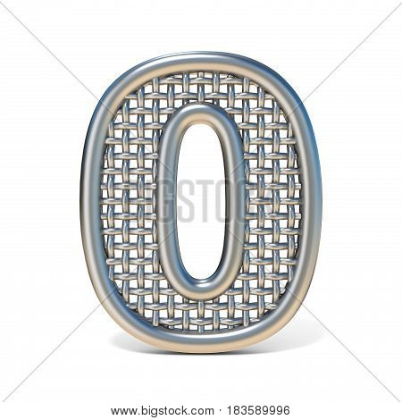 Outlined Metal Wire Mesh Font Number 0 Zero 3D