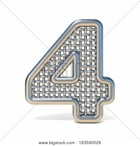 Outlined Metal Wire Mesh Font Number 4 Four 3D