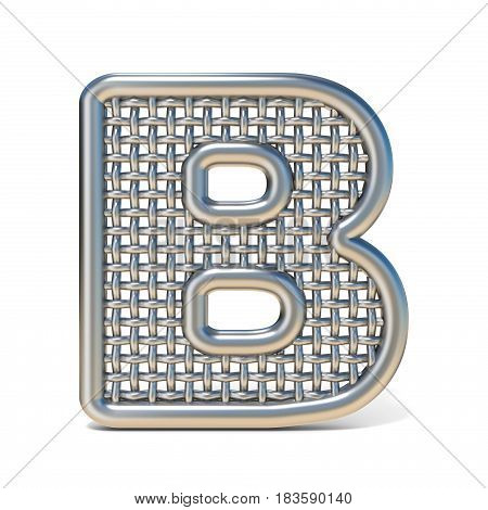 Outlined Metal Wire Mesh Font Letter B 3D