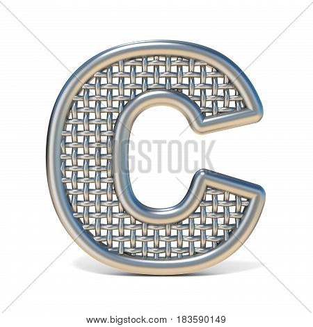 Outlined Metal Wire Mesh Font Letter C 3D