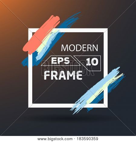 Square with color brush Frame Art. Background Flat Design (for Logos Flyers Covers Posters Banner) Vector illustration.