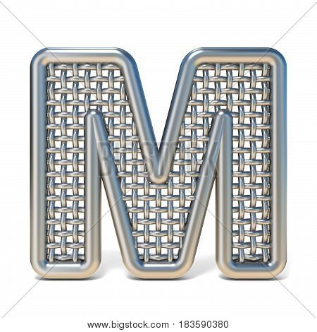 Outlined Metal Wire Mesh Font Letter M 3D
