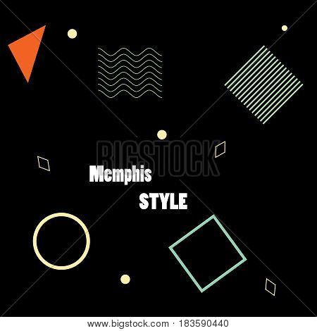 Modern poster, brochure or card geometric figures in Memphis style, perfect for web background or print wrapping decoration and fashion textile, fabric design