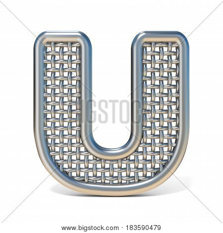 Outlined Metal Wire Mesh Font Letter U 3D