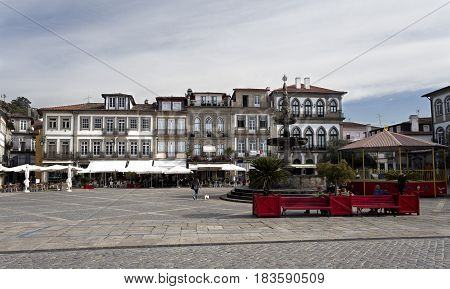 PONTE DE LIMA, PORTUGAL - OCTOBER 7, 2016: View of the main square called Camoes Square in the historical centre of Ponte de Lima Portugal