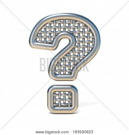 Outlined Metal Wire Mesh Font Question Mark 3D