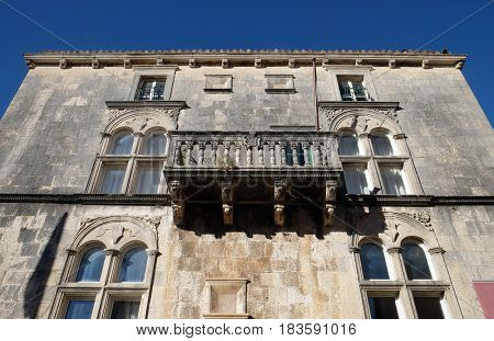 KORCULA, CROATIA - NOVEMBER 09: Balcony at house built in Renaissance in Korcula, Croatia. Korcula is a historic fortified town on the island of Korcula. on November 09, 2016.