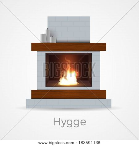 Fireplace in Danish hygge style - cozy and comfortable. Hearth with burning flame inside brick and wood frame construction. Vector illustration in realistic style, isolated on white background.