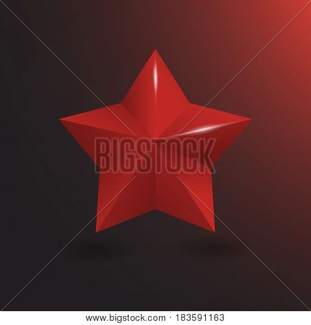 3d red star with shine vector illustration