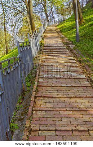 Block stairway at Volodymyr park in Kiev Ukraine