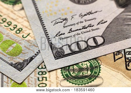 US one hundred dollar bills money background