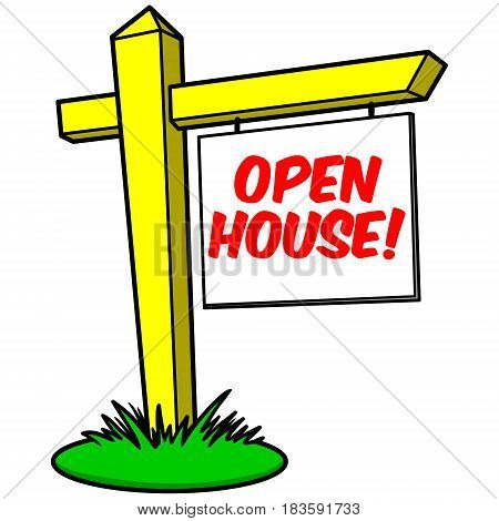 A vector illustration of a Open House realtor sign.