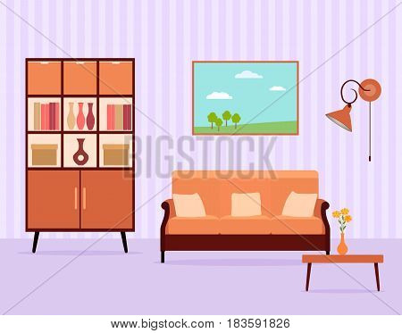Living room interior design in flat style including furniture cabinet sofa table lamp and landscape picture. Flat vector illustration.