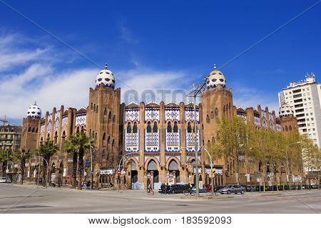 Barcelona Spain - 26 March 2017: The Plaza Monumental de Barcelona often known simply as La Monumental was a bullring in the city of Barcelona Catalonia Spain