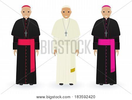 Pope cardinal and bishop characters in characteristic clothes isolated on a white background. Supreme catholic priests stand together in cassocks. Religion people concept. Vector illustration.
