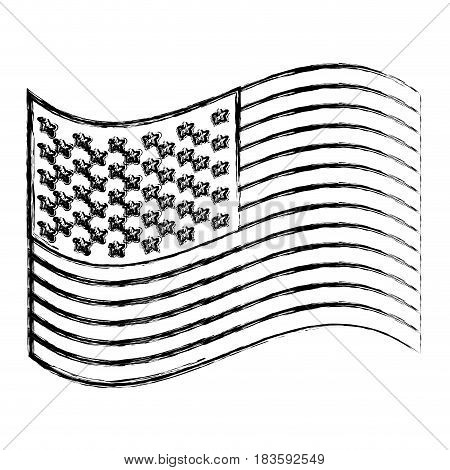 monochrome sketch of waving flag of the united states vector illustration