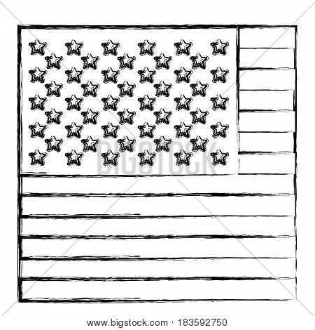 monochrome sketch of flag the united states in closeup vector illustration