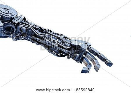 Left arm of a robot made from car parts and spares. Isolated on white background
