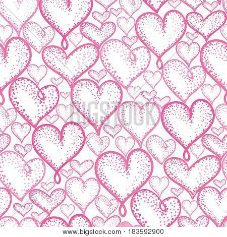 Vector pink hearts seamless repeat pattern background design. Great for romantic Valentine Day cards, wrapping paper, fabric, wallpaper. Textile design.