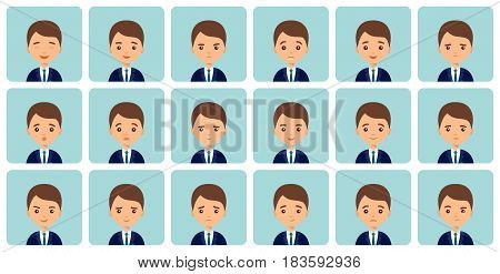 Avatars emotions. Male face with different expressions. Man in flat design. Cartoon character. Vector illustration. Set of isolated people icons.