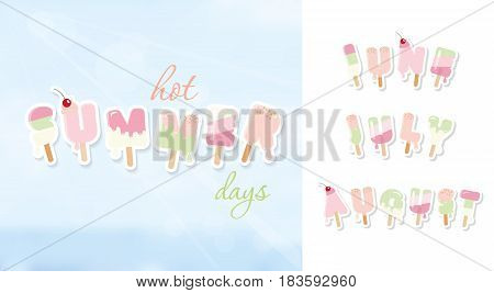 Summer background. June july august. Ice cream cartoon letters in pastel colors on blue sunny sky. Vector.
