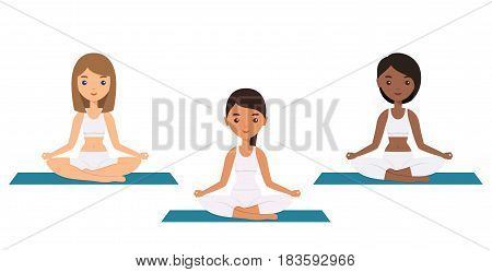 Women sitting in lotus yoga pose. Flat people icon. Sukhaasan. Yoga concept. Female characters. Vector illustration.