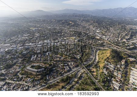 Aerial view of the Highland Park community in northeast Los Angeles, California.