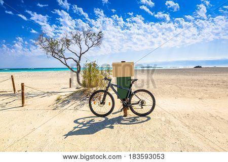 Bike at the Elafonissi beach on Crete, Greece;