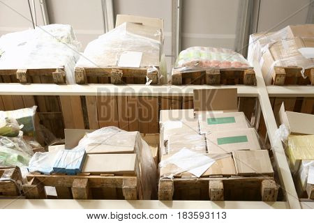 Boxes with goods in wholesale warehouse