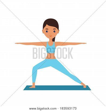 Yoga. Pose Warrior. Woman standing in yoga pose Virabhadra. Cartoon female character. Flat people icon. Vector illustration.
