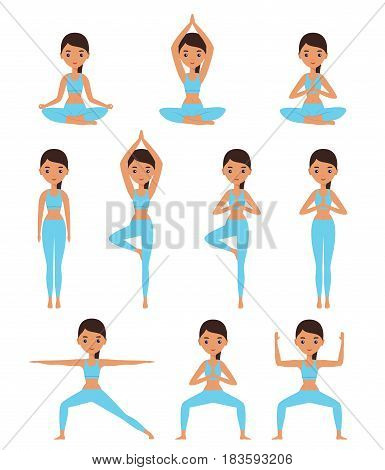 Yoga. Women standing in yoga poses - lotus goddess mountain tree warrior. Cartoon female characters. Flat people icon. Vector illustration.