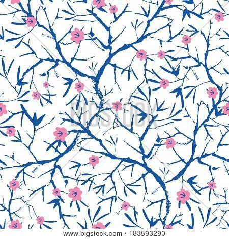 Vector navy blue, pink, and white blooming sakura bracnhes painted texture. Seamless repeat pattern background. Great for wallpaper, cards, fabric, wrapping paper, stationery projects. Repeat pattern design.