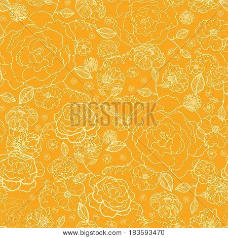 Vector orange and gold flower garden seamless repeat pattern background texture. Perfect for wedding invitations, wallpaper, giftwrap, stationery, and fabric. Textile pattern design.