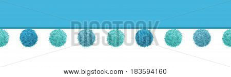 Vector Baby Boy Blue Decorative Pom Poms Horizontal Seamless Repeat Border Pattern. Great for nursery room, handmade cards, invitations, wallpaper, packaging, baby girl designs. Surface pattern design.