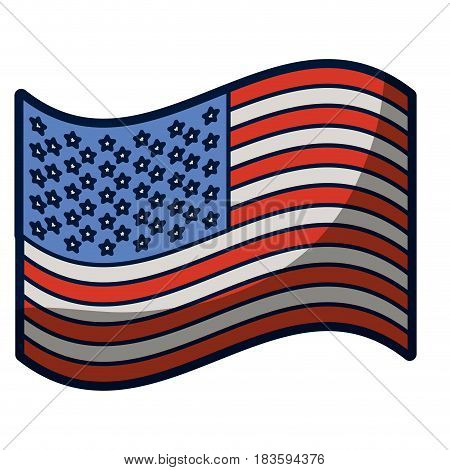 light colours silhouette of waving flag of the united states with half shadow vector illustration