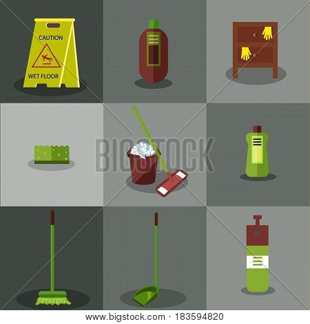 Set of tools for cleaning: a bucket with soapy foam, broom, mop and scoop with green handles. Bottles of detergent. Sigh