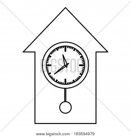 monochrome contour with cuckoo clock vector illustration