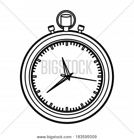 monochrome contour with black stopwatch vector illustration