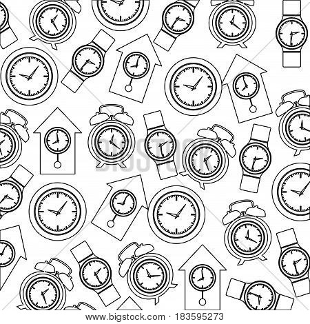 monochrome pattern with clock models vector illustration