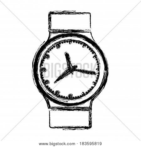 monochrome blurred silhouette with male wristwatch vector illustration