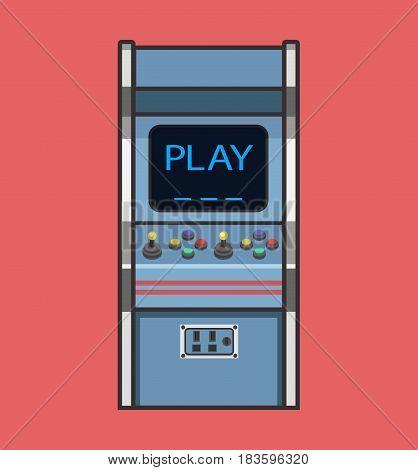 Classic Retro Arcade Game Machine. Vintage Gaming Machine Flat Icon Vector Illustration