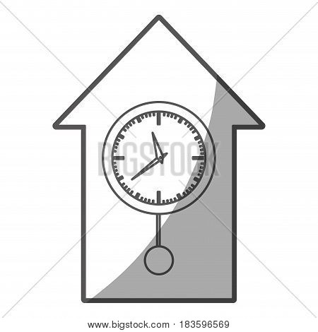 grayscale silhouette of cuckoo clock vector illustration