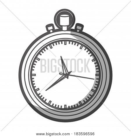grayscale silhouette of stopwatch with thick contour vector illustration