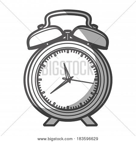 grayscale silhouette of alarm clock with thick contour vector illustration