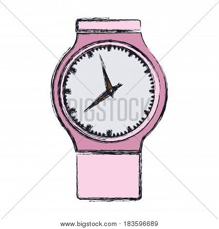 color blurred graphic of pink female clock vector illustration