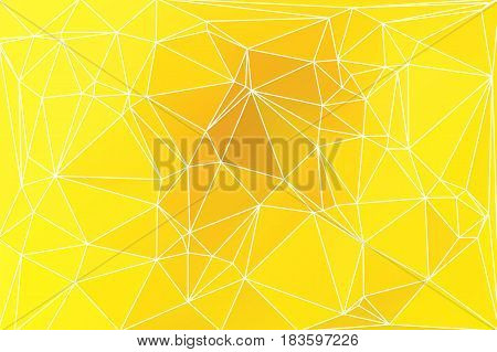 Bright golden yellow abstract low poly geometric background with white triangle mesh.