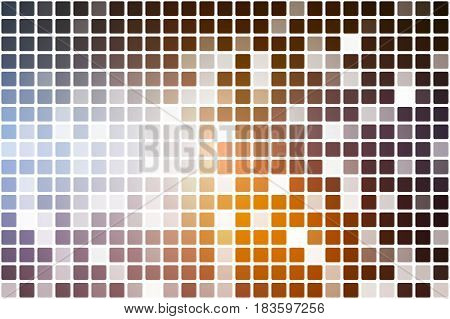 Brown orange white occasional opacity vector square tiles mosaic over white background